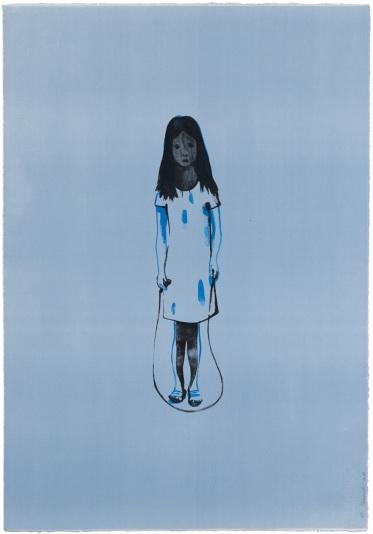 Françoise Pétrovitch - SEULE À LA CORDE, 2010 Lithographie sur papier BFK Rives - Édition de 36 ex. 90 x 63 cm -600€